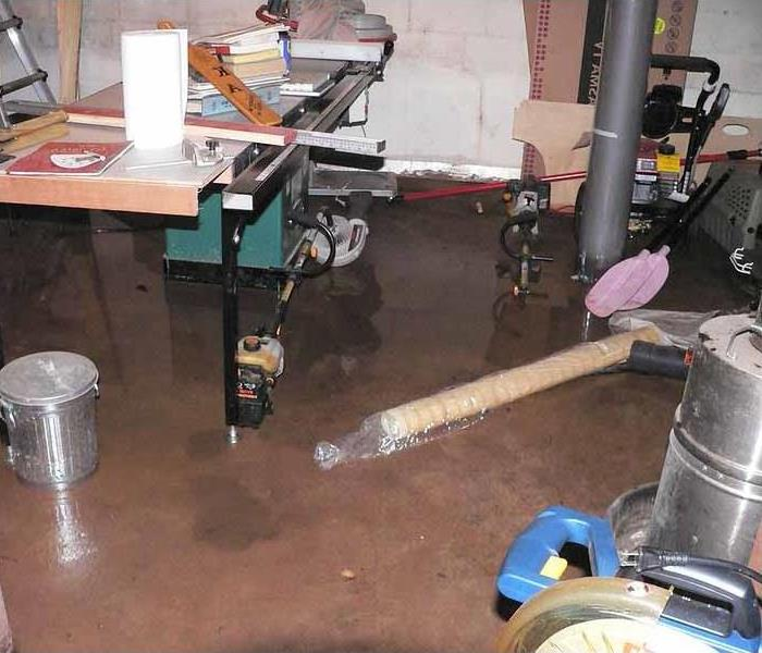 basement water damage before shot