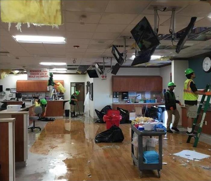 A business office has been damaged by a tornado