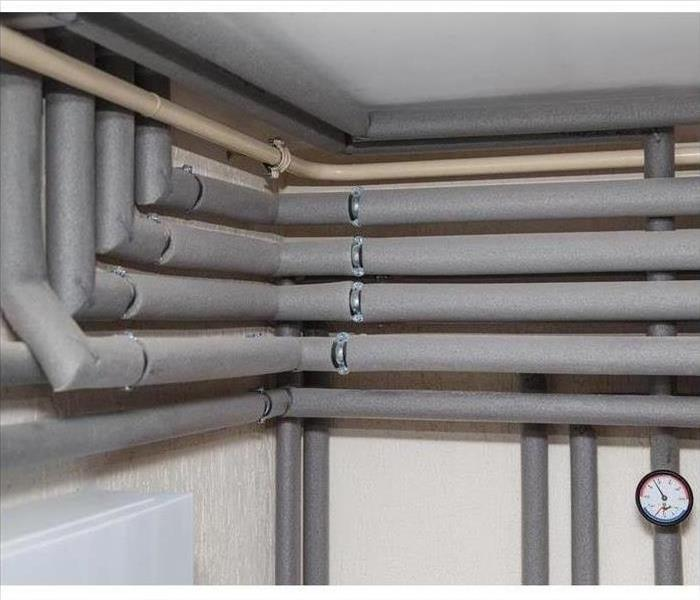 Water pipes are wrapped in insulation